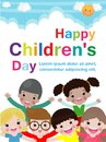 Happy children`s day background, Template for advertising brochure, your text,Kids and frame vector illustration