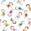 Happy children seamless pattern with playing Royalty Free Stock Images
