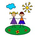 Happy children in summer boy and girl happily hold hands on lawn Royalty Free Stock Image