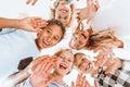 Happy children waving