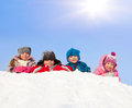 Happy children in winter park Royalty Free Stock Photos
