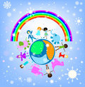 Happy children winter world Royalty Free Stock Images