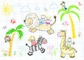 Happy childrens and animals sketch on notebook page Stock Images
