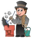Happy chimney sweeper eps vector illustration Royalty Free Stock Photography