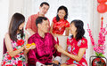 Happy chinese new year asian family celebrating Stock Photography