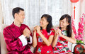 Happy chinese new year asian family wishing each other a Stock Image