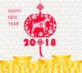 Happy Chinese new year 2018 card is Gold coins money - year of dog. Royalty Free Stock Photo