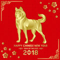 Happy Chinese new year 2018 card with Gold Dog zodiac abstract on red china parttern background vector design