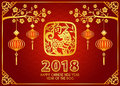 Happy Chinese new year 2018 card is lanterns Hang on branches , paper cut dog in frame vector design Royalty Free Stock Photo