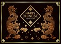 Happy Chinese new year card with Twins china dragon celebrates sign on clouds warm light tone on  dark background and gold frame Royalty Free Stock Photo