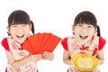 Happy chinese new year child showing red envelope and gold little girl for lucky mean get rich s day Royalty Free Stock Images