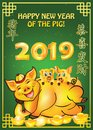 Happy Chinese New Year of the earth Pig 2019 - greeting card with green background;
