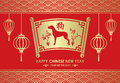 Happy Chinese new year is Gold lanterns and dog in letter Roll  chinese word mean dog Royalty Free Stock Photo