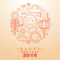 Happy Chinese New Year 2016 Greeting Card Icons Symbol - Vector Royalty Free Stock Photo