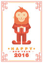 Happy Chinese New Year 2016 Greeting Card Monkey Costume on Frame - Vector flat design Royalty Free Stock Photo