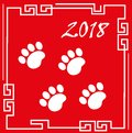 Happy chinese new year 2018 greeting card with traces of dog paws. China new year template for your design. Vector