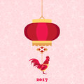Happy Chinese new year 2017 of red rooster with lantern and flowers