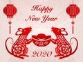 2020 Happy Chinese new year of retro elegant rat holding a gold ingot and lantern. Chinese Translation : Rat