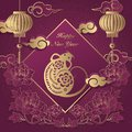 2020 Happy Chinese new year of retro elegant relief peony flower lantern rat cloud ingot and spring couplet