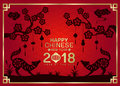 Happy chinese new year 2018 with Silhouette paper cut dog zodiac and china knot Hang on branches flowers tree vector design