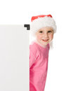 Happy Christmas child with the board Royalty Free Stock Image