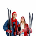 Happy christmas couple with ski isolated over white background Royalty Free Stock Photos