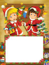 Happy christmas frame border illustration for the children beautiful related Royalty Free Stock Images