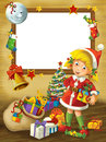 Happy christmas frame border illustration for the children beautiful related Royalty Free Stock Photo