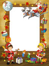 Happy christmas frame border illustration for the children beautiful related Stock Photo