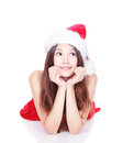Happy Christmas girl look upwards Stock Photo
