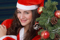 Happy christmas girl in santa costume Royalty Free Stock Photography