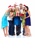Happy christmas people group isolated on white background party Stock Photography