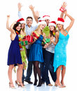 Happy christmas people group isolated on white background party Royalty Free Stock Photos