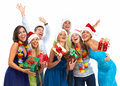 Happy christmas people group isolated on white background party Royalty Free Stock Photography