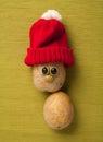 Happy Christmas potato in santa hat Royalty Free Stock Photo