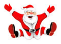 Happy Christmas Santa jumping Stock Photography