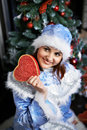 Happy Christmas Snow-Maiden show gift Stock Image