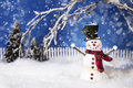 Happy christmas snowman a smiling dressed in black top hat adorned with greenery and a red scarf s arms are outreaching and Stock Photos
