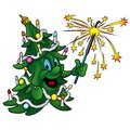 Happy christmas tree colored cartoon illustration vector Royalty Free Stock Image