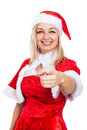 Happy christmas woman pointing in costume at you isolated on white background Stock Photography