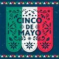 Happy Cinco de Mayo card of mexican paper cut flag