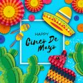 Happy Cinco de Mayo Greeting card. Colorful Paper Fan, Funny Pinata, Maraca and Cactus in paper cut style. Origami Royalty Free Stock Photo