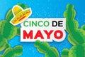 Happy Cinco de Mayo Greeting card. Origami Mexican sombrero hat, succulents. Text