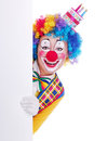 Happy clown with the blank board Royalty Free Stock Photo