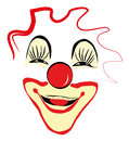 Happy clown face design smiling with painted and big red nose Stock Photography