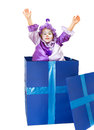 Happy clown little girl popping out of a surprise box Royalty Free Stock Photos