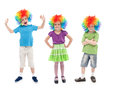 Happy clowns in row Stock Photo