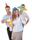 Happy colleagues having party fun in office Stock Photos