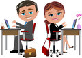 Happy colleagues working at office desk illustration featuring bob and meg with computer isolated on white background eps file is Royalty Free Stock Images