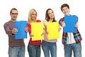 Happy college students four hold folders Royalty Free Stock Photos